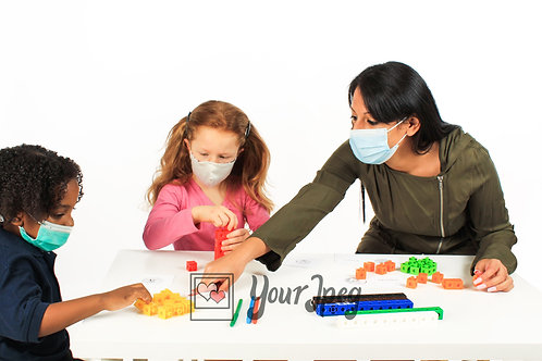 Woman Playing With Kids While Wearing Masks