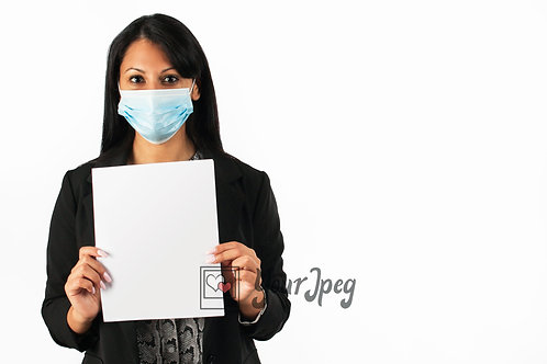 Woman  In Suit Wearing Mask Holding Up Blank Paper