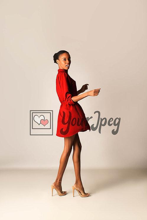Model Posing At An Angle While Looking Forward