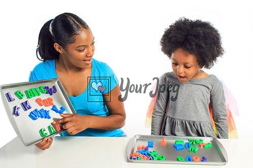 Mother Teaching Daughter Alphabets #1