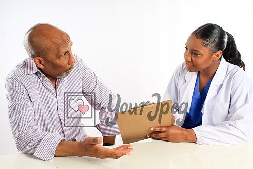 Young female doctor talking to older mal