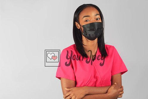 Female Nurse Wearing Black Face Mask