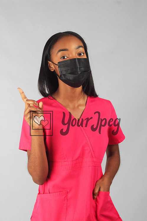 Female Nurse Pointing While Wearing Mask