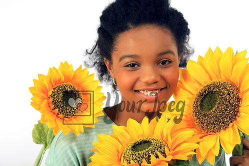 Tween girl with Sunflowers