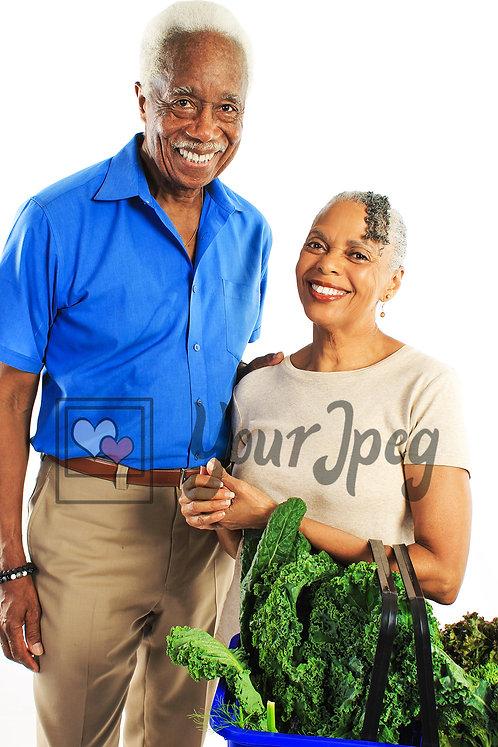 Senior couple with shopping basket