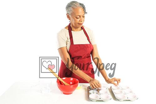 Older woman doing baking prep
