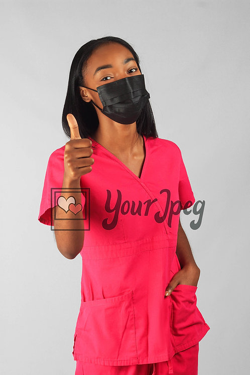 Woman Thumbs Up While Wearing Mask
