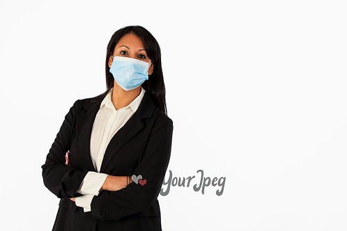 Woman In Suit Wearing Mask With Arms Crossed