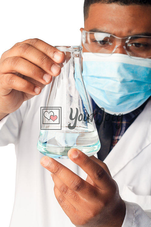 Male Scientist Examining Conical Flask Contents #2