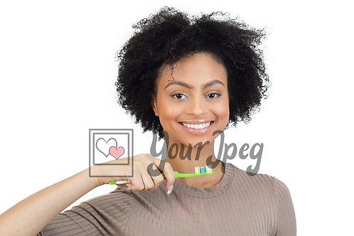 Woman brushing teeth 1