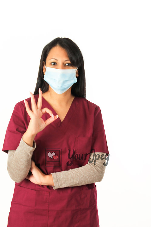 Female Nurse With Okay Hand Symbol