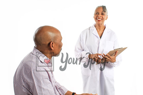 Older female doctor with patient