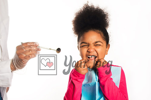 Young girl hesitant at dentist