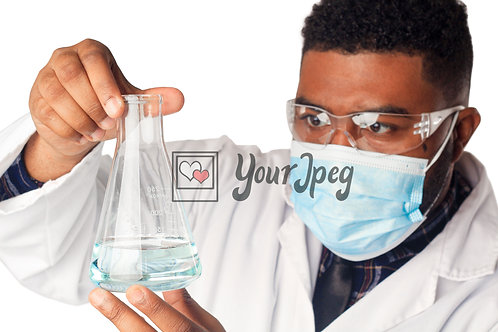 Male Scientist Examining Conical Flask Contents #1