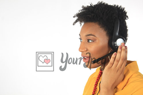Profile of woman wearing headset