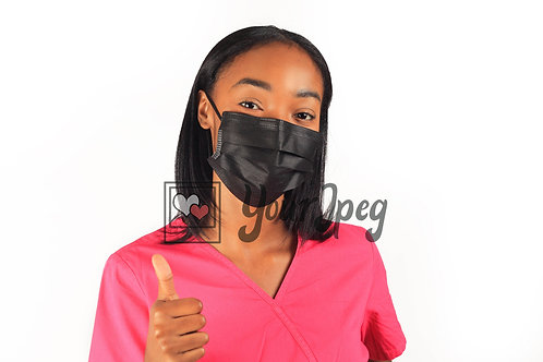 Female Nurse Thumbs Up While Wearing Black Face Mask