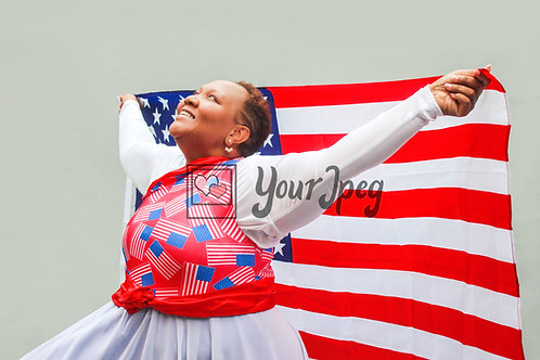 Woman holding flag behind her
