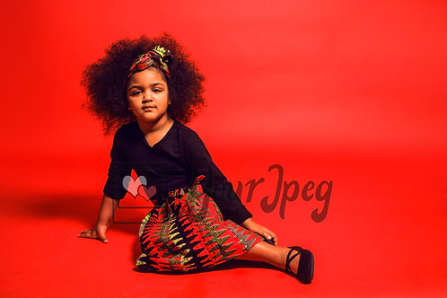 Girl with puffy hair and fashion model pose