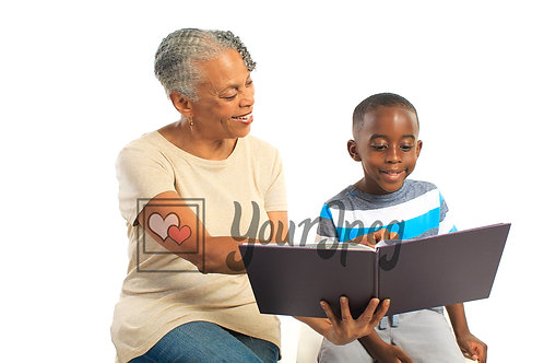 Older woman reading book to boy 3