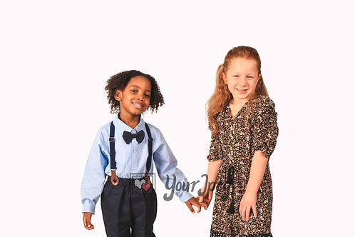 Boy and Girl Holding Hands Modeling Smiling #2