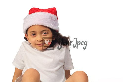 Girl Wearing Christmas Hat