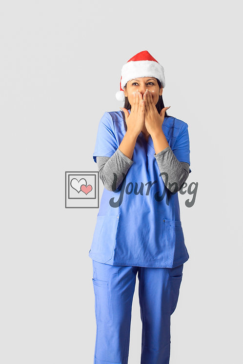 Female Nurse Wearing Christmas Hat With Hands Over Mouth #2
