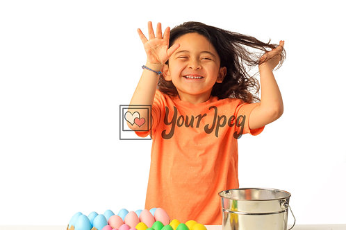 Girl Playing With Easter Eggs Smiling