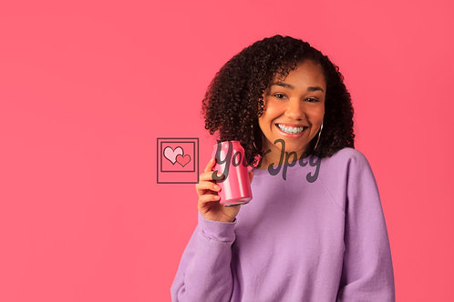 Woman Smiling While Holding Soda Can Looking Forward