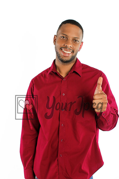 Man holding up ok hand gesture