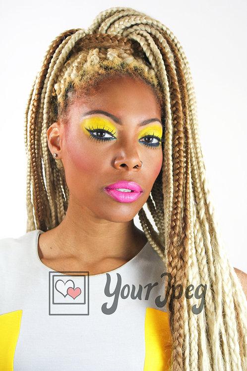 Beautiful woman with blonde braids