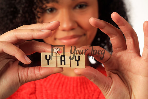 """Woman Holding Up Letters that spell """"Yay"""""""