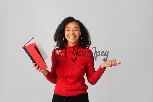 Woman Smiling While Holding Open Book #2
