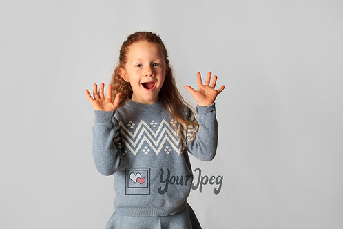 Young Girl Excited Holding Up Hands