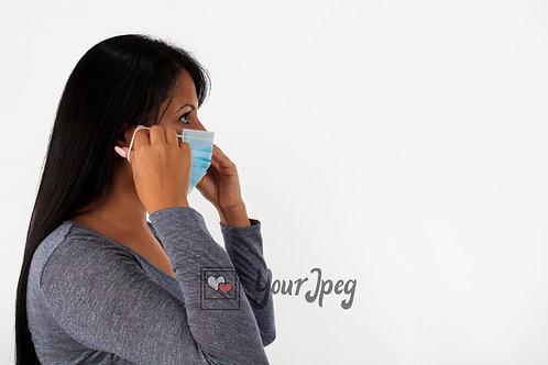 Woman Putting On Mask Side Angle #2