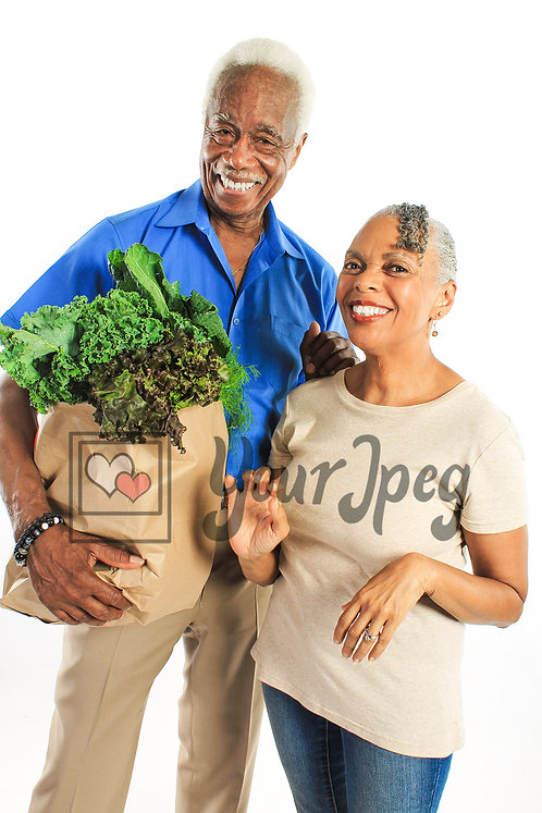 Senior couple with groceries 2