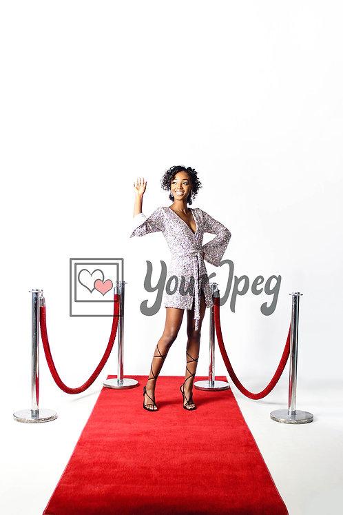 Woman Waving On Red Carpet