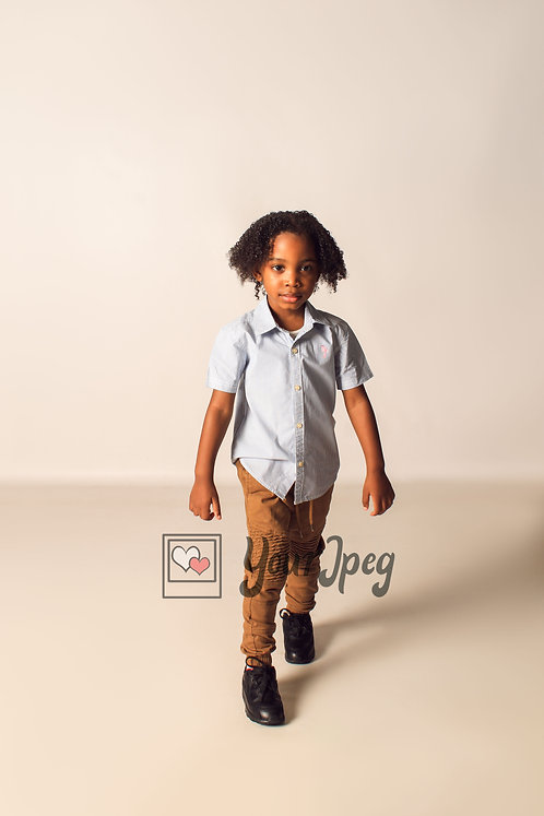 Boy Modeling While Looking Forward