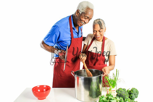 Senior Grandpa and Grandma Cooking Looking in a pot