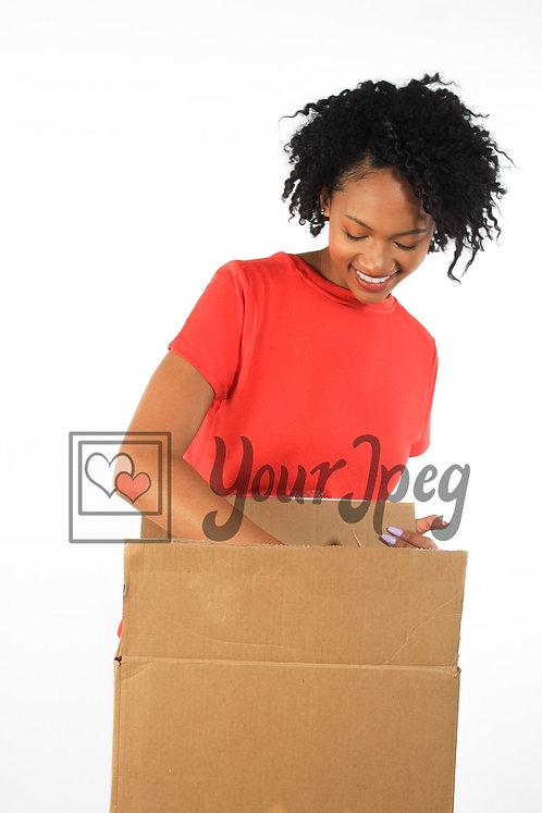 Woman reaching in box