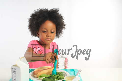 Girl with lunch tray