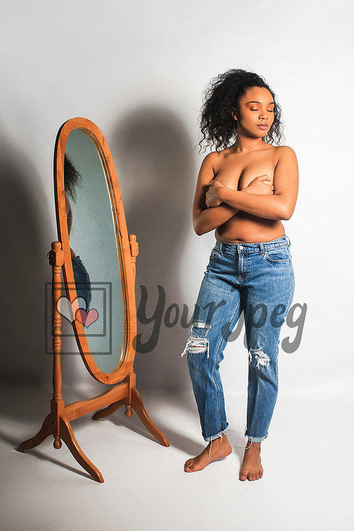 Woman with self love in mirror