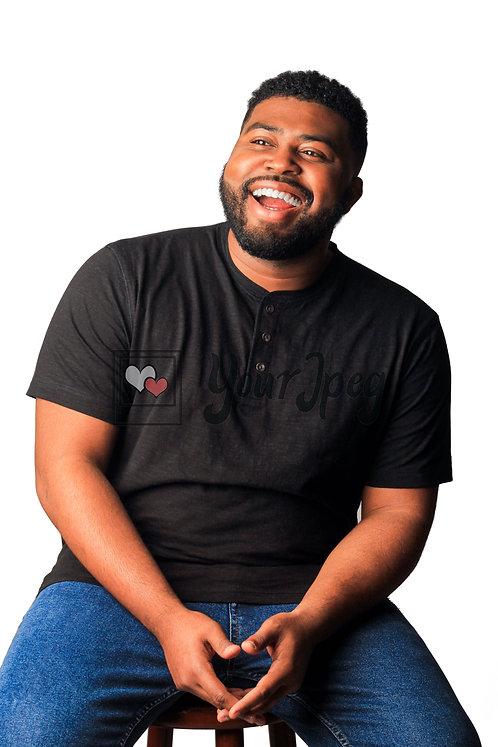 Man Sitting On Stool Smiling #2