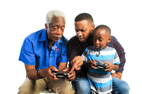 Grandpa, Son, And Grandson Playing Video Games
