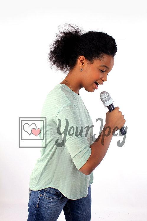 African American Tween girl singing