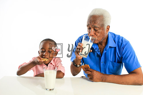 Grandpa and Grandson Eating Cookies and Drinking Milk #1