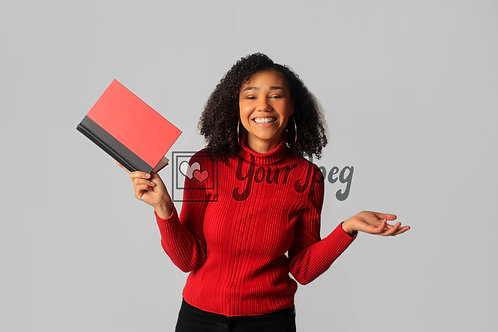 Woman Smiling While Holding Open Book #5