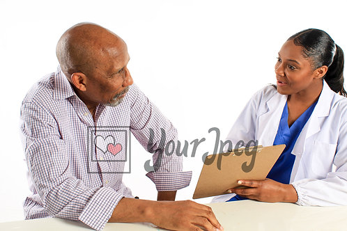 Young female doctor talking to older male patient about health