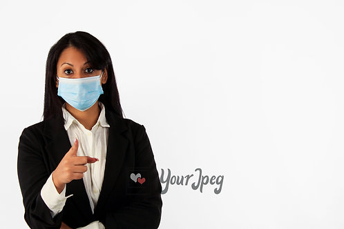 Woman In Suit Wearing Mask Pointing