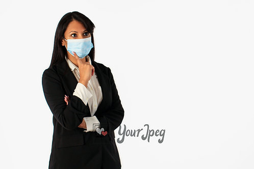 Woman In Suit Touching Mask