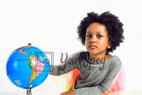 Girl with globe 1